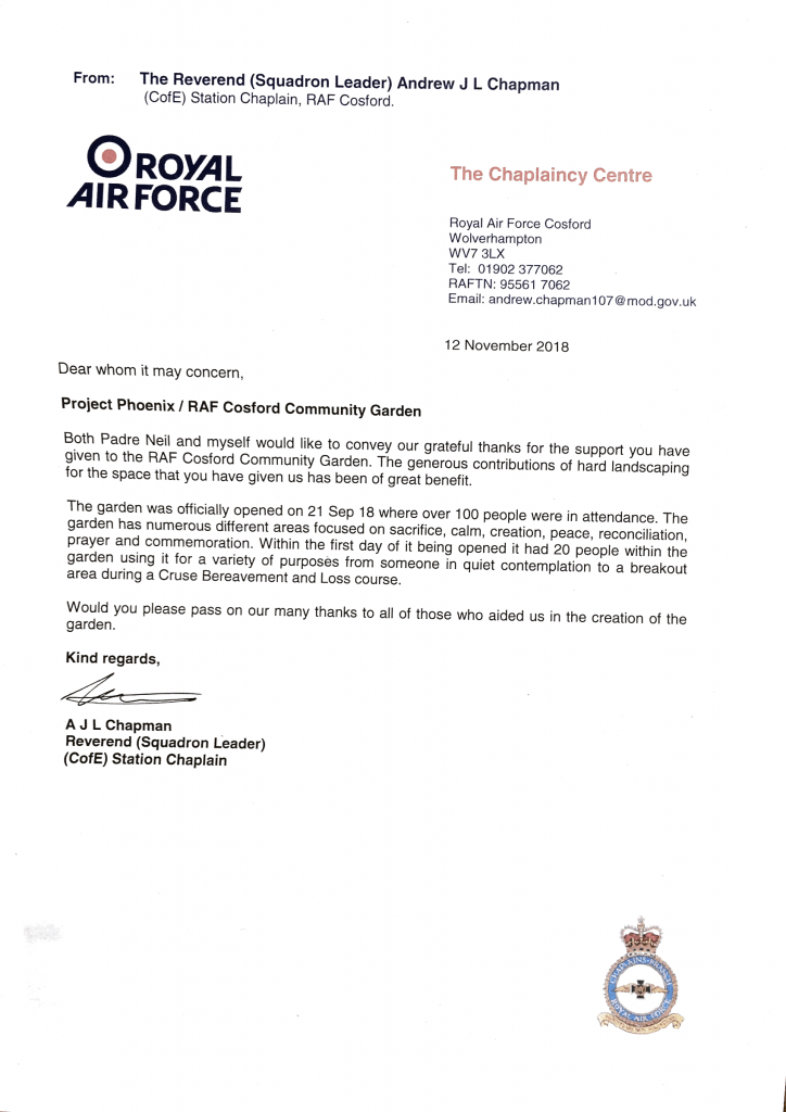 Letter of thanks from the RAF