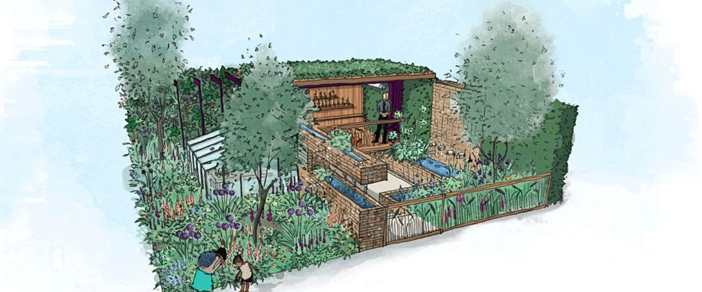 What-to-see-at-rhs-chelsea-2019-montessori-garden. Illustration of The Montessori Centenary Children's Garden.