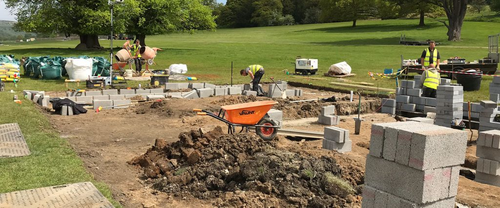 Foundations and building blocks of Wedgwood Garden at RHS Chatsworth