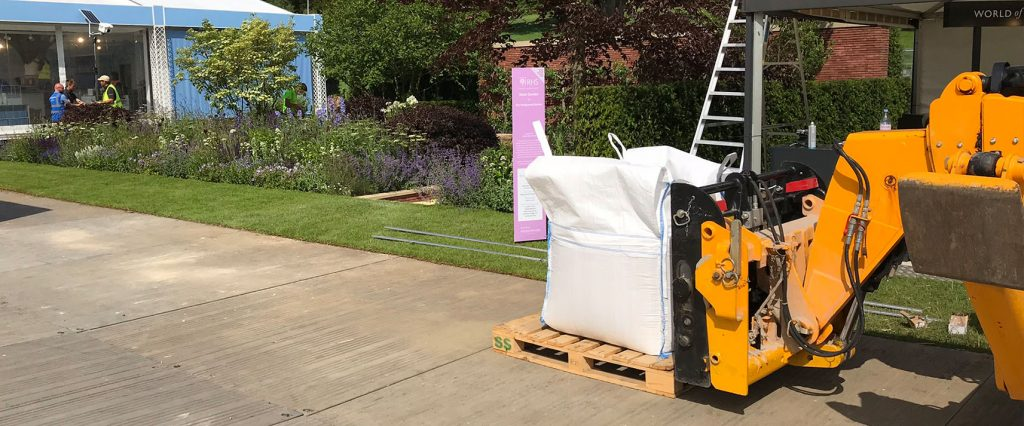Goldpath self binding gravel being moved to the Wedgwood Garden at RHS Chatsworth