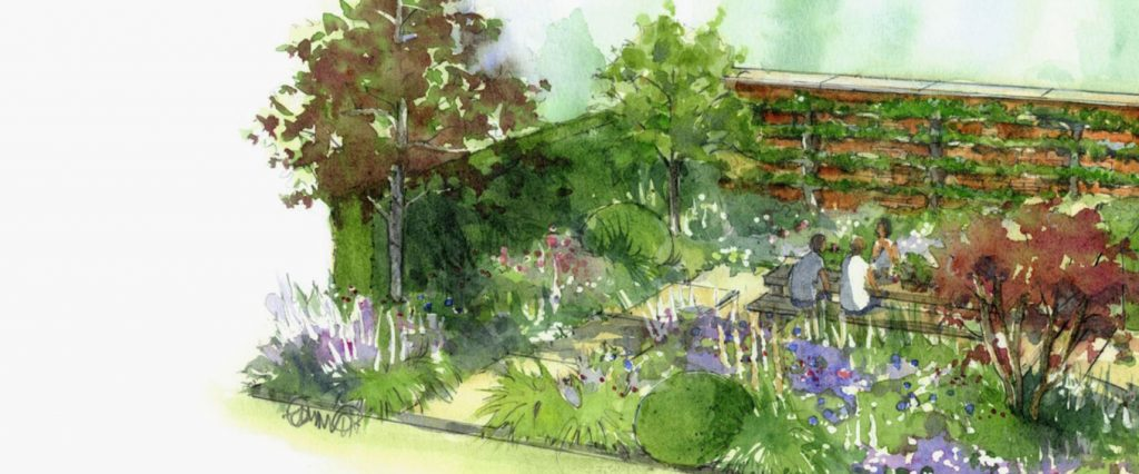 Artists impression of table space in the Wedgwood garden