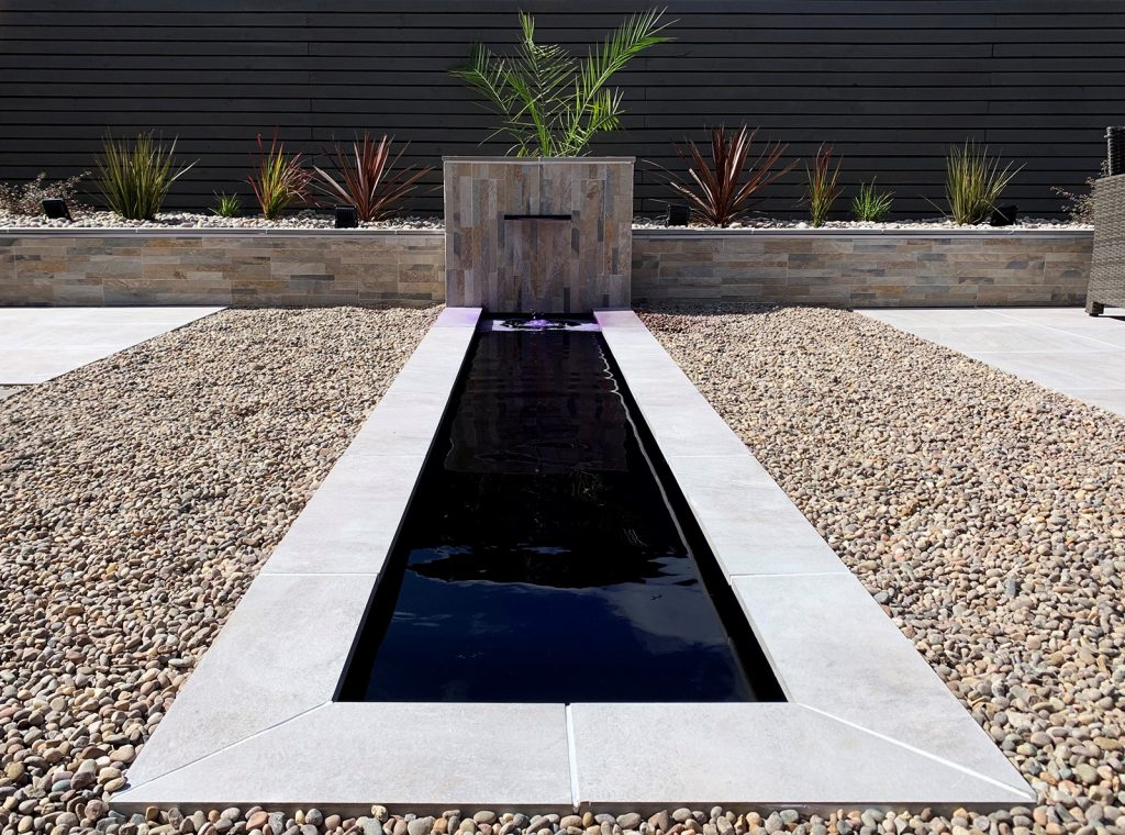 Water feature with Scottish pebbles