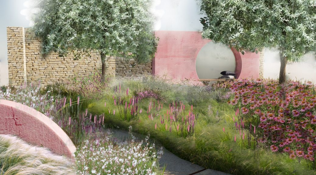 Sketch of the Dreamscape Garden at Tatton Park Flower show 2021