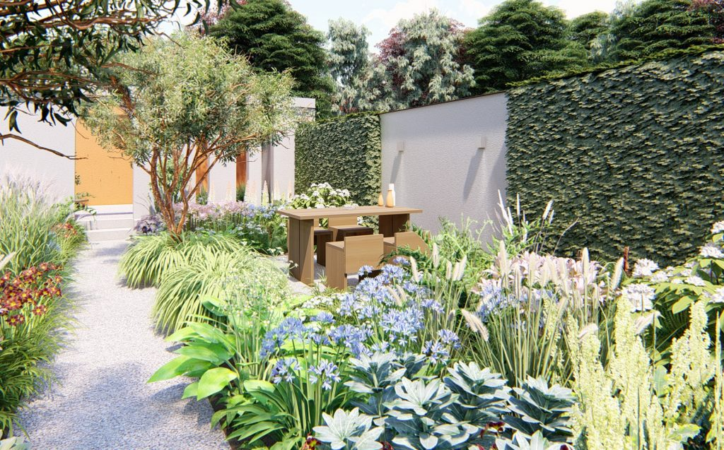 Sketch of The Earth Garden at Tatton Park Flower Show.
