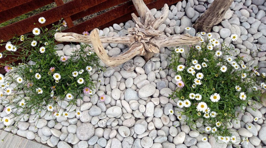 Sparse planting surrounded by our Scottish Pebbles at BBC Gardeners' World Live.